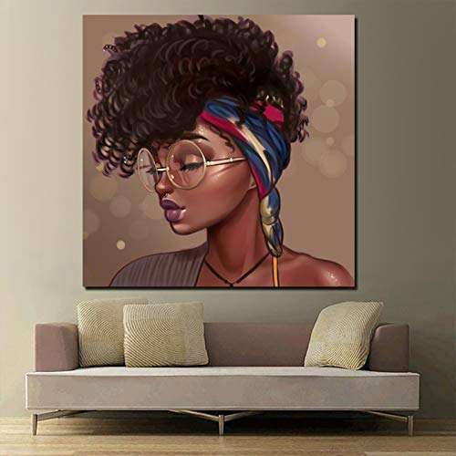 Nordic poster black girl on canvas living room home decoration modern wall art oil painting poster,Frameless painting,70x70cm