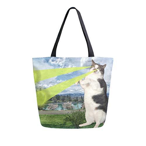 NaiiaN Handtaschen Light Weight Strap für Frauen Mädchen Damen Student Super Cat Beam Vögel Geldbörse Shopping Umhängetaschen Einkaufstasche