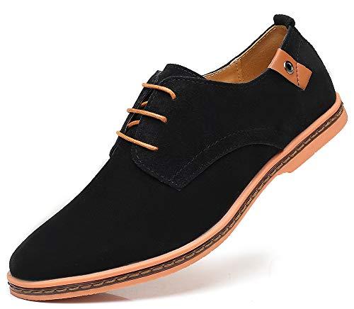 CAGAYA Herren Freizeit Schuhe aus Leder Business Anzugschuhe Atmungsaktiv Lederschuhe Oxford Halbschuhe Party Hochzeit übergrößen 38-46 (46 EU, Schwarz-077)