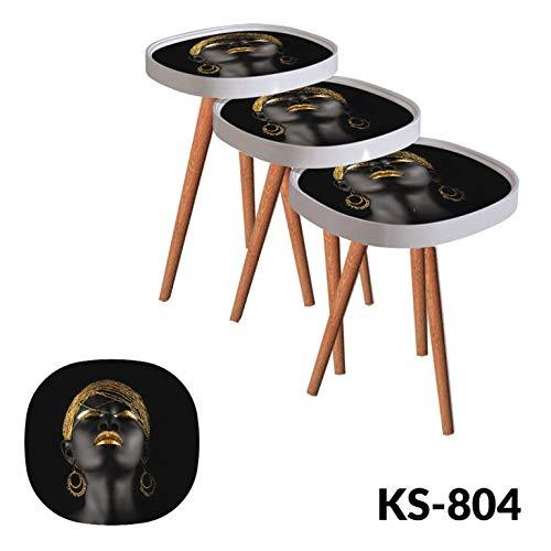 Decor Point bijzettafel, salontafel, glazen model design face-motief, ovaal 3'er