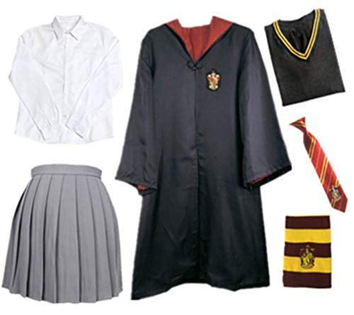Fanessy. Kinder Erwachsene Umhang Kostüm Für Harry Potter,Fancy Dress Cosplay Outfit Set Zauberstab Krawatte Schal Brille Hut Hemd Rock Karneval Verkleidung Fasching Halloween 105-185