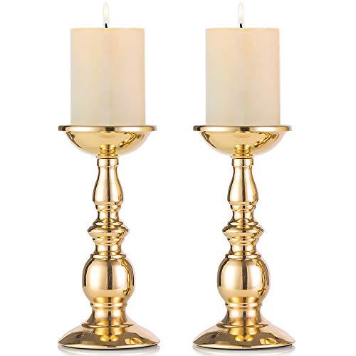 Nuptio Eisen Säulenständer Kerzenhalter, Tischdekoration Kerzenständer Für Hochzeit, Party, Geburtstag, Abendessen Bei Kerzenlicht, Vintage Kerzenständer Hausdekoration, Kupferfarbe (Gold, 2 x Groß)