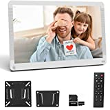 Digital Picture Frame 17.3 Inch 1920x1080 16:9 Ratio Screen, Photo Auto Rotate, Motion Sensor, Auto Play, Auto Time On/Off, Wall Mountable, Background Music, Remote Controller, Include 32GB SD Card