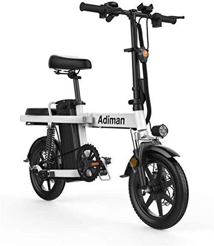 Bicicletas Eléctricas, Bicicletas eléctricas rápidas for adultos de 14 pulgadas 48V 8Ah batería de litio eléctrica Luz de bicicletas for adultos conducción de batería desmontable de aleación de alumin