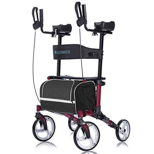 """ELENKER Upright Walker, Stand Up Folding Rollator Walker with 10"""" Front Wheels, Padded Armrests, Seat and Backrest for Seniors and Adults, Red"""