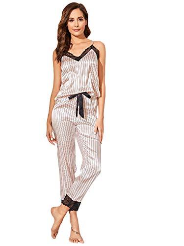 DIDK - Set di pigiama da donna, in raso e pizzo, con pantaloni e camisola, 2 pezzi, abbigliamento da notte con scollo a V, spalle V-beige 2 S