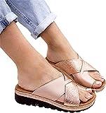 Riyueyi Sandalias de corrección del Dedo Gordo del pie para Mujeres Sandalias ortopédicas Bunion Corrector con Soporte para el Arco Puntera enderezar los Zapatos,Oro,US9/EU41