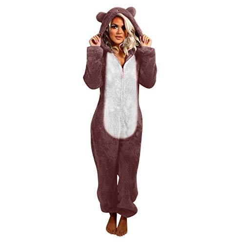 KEERADS Unisex Jumpsuit Schlafanzug-Overall Katzenohren Pyjama Patchwork Einteiler...