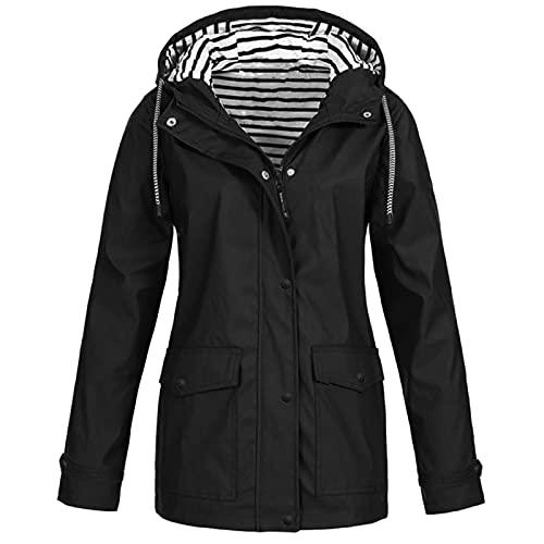 Damen Frühling Herbst Bequem Mantel Lässig Mode Jacke Frauen Feste Regenjacke im Freien Plus wasserdichter mit Kapuze Regenmantel Winddicht