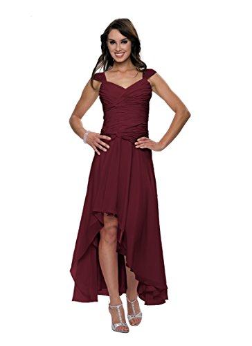 Astrapahl Damen Cocktail Kleid mit schönen Raffungen, Knielang, Einfarbig, Gr. 38, Rot (Weinrot)