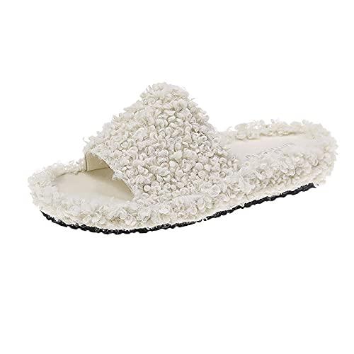 MDCGL Zapatillas de Estar por Casa para Zapatillas de Punta Abierta Descalzas engrosadas de otoño Invierno para Mujer, Chanclas de Moda para Interiores de Pareja, Blancas EU36