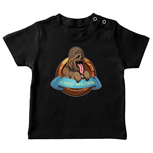 T-Shirt bébé Noir Parodie Star Wars - Chewbacca - Le Meilleur Ami de l'homme. (T-Shirt de qualité Premium de Taille 12 Mois - imprimé en France)