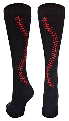 MadSportsStuff Softball Socks with Stitches Over The Calf (Black/Red, Medium)