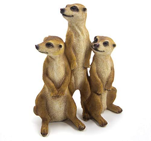 Bambelaa! 3er Set Erdmännchen Familie Figur Garten Deko Gartenfigur Groß Für Außen Zum Stellen (ca.15,5 x 7,5 x 20,5 cm)