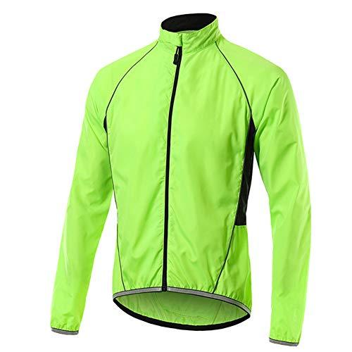 Kisshg Hombres Ropa de Ciclo de la Bicicleta Conjunto Jersey, Deportes Rompevientos Hombres de la Capa Fina Piel Exterior Rompevientos Chaqueta de Running,Verde,XL