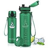 Baomay Botella de Agua Deportiva 1000ml, Adultos/Niños Bottle con Filtro, Bidon de Bebidas Plástico Tritan, para Gimnasio, Ciclismo, Trekking   Sin-BPA & Impermeable & Reutilizable (Bosque Verde)