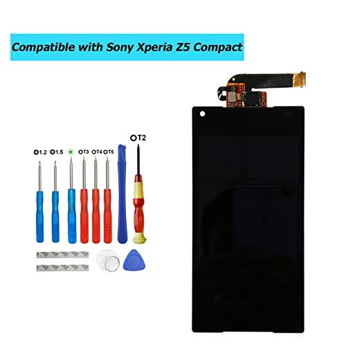 Upplus - Pantalla LCD de Repuesto Compatible con Sony Xperia Z5 Compact Mini E5803 E5823, con Kit de Herramientas, Color Negro