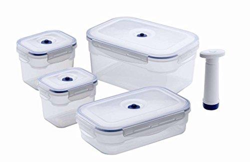 Compactor Aspifresh, Set di 4 Contenitori Rettangolari Sottovuoto Per Alimenti, Con Pompa, ACC926