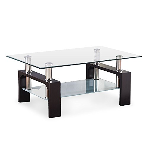 Mecor Rectangle Glass Top Coffee Table - Modern Center Table with Shelf & Wood Legs Suit for Living Room (Walnut)