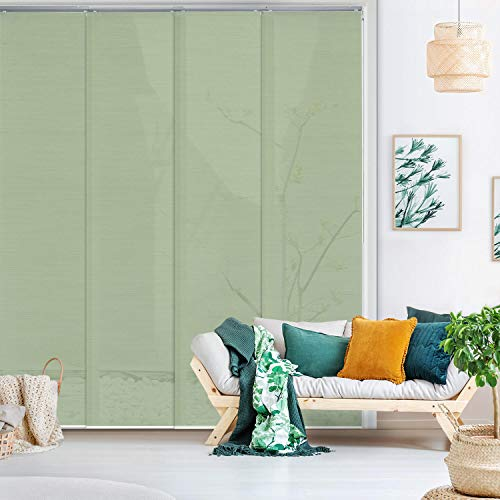 GoDear Design Deluxe Adjustable Sliding Panel Track Blind 45.8'- 86' W x 96' H, Extendable 4-Rail Track, Room Divider Panels, Green Trimmable Fabric, Light Filtering, Grassland
