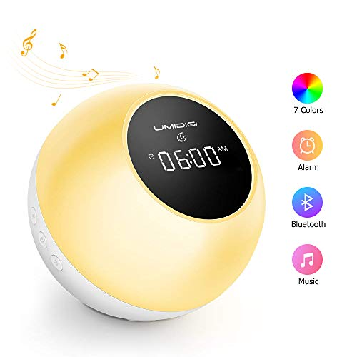 UMIDIGI Alarm Clock for Bedroom, Uwake Wake-up Light Alarm Clock for Heavy Sleepers Kids, Bluetooth Speaker with 7 Color Switch for Bedrooms - Nature Sounds Sunrise Simulation & Snooze Function