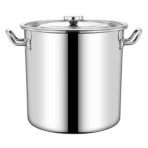 Deep Induction Stock Pot with Stainless Steel Lid, Cooking Pot for Beer Brewing Stainless Steel Large Stock Pot Cookware (12L-70L) (Size : 25 * 25CM)