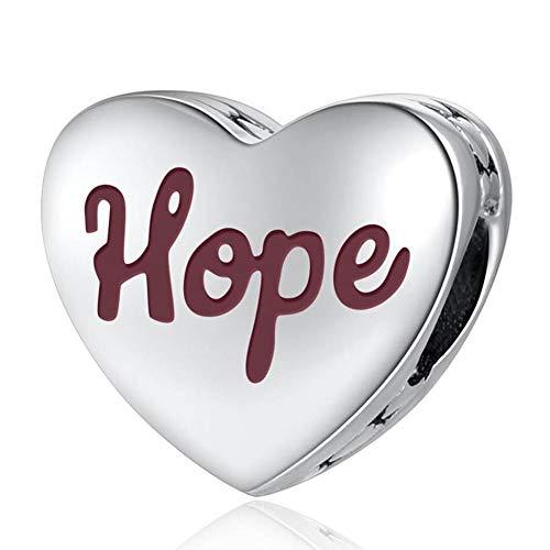 Pandora 925 Plata de Ley DIY esmalte Hope Ribbon Love Heart Bead Charms Fit Lady pulsera para mujer fabricación de joyas