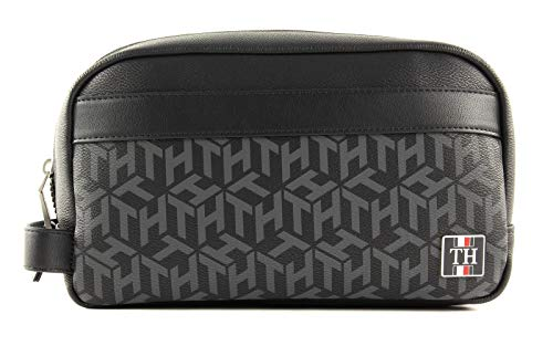 TOMMY HILFIGER Coated canvas Washbag Black Monogram