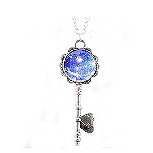 Youkeshan Collar, Llavero, Collar, Plata Hueca Estrella Gáltica Cosmic Luna Collar