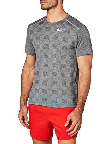 Nike Herren Df Miler Jac T-Shirt, Black/Particle Grey/Reflective, M