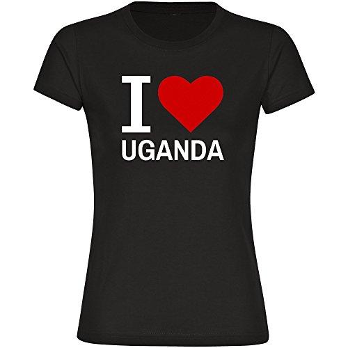 Damen T-Shirt Classic I Love Uganda - schwarz - Größe S bis 2XL, Größe:M