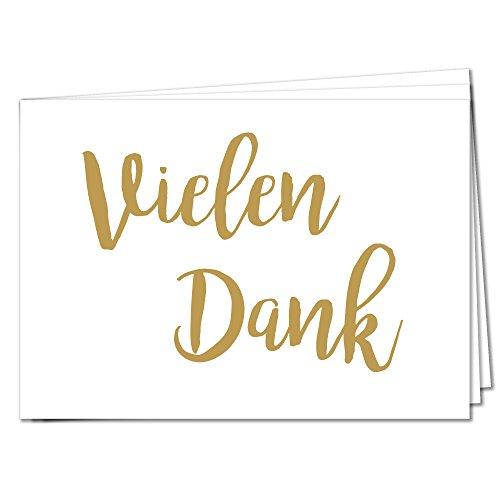 TYSK Design Postkarten Vielen Dank - 20 Postkarten Gold Karte Deko Geburtstag Gruß Glückwunsch Danke Hochzeit Liebe Kindergeburtstag