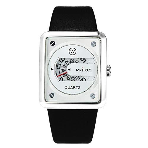 Relojes De Pulsera Versión Cuadrada Coreana del Reloj De Cuarzo con Hebilla Oscura De Cuero Digital De Moda, Blanco