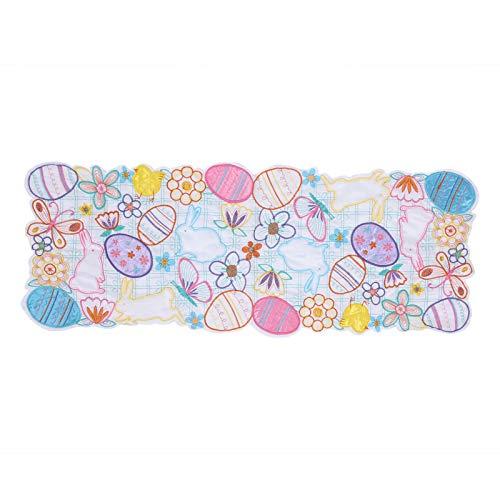 Bunny Placemat, bekvämt linne påskbord, täckplatta, hudvänligt säkert starkt för påsk(34 * 88cm)