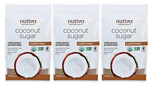 Nutiva Organic Non-GMO Unrefined Granulated Coconut Sugar, 1 Pound (Pack of 3)