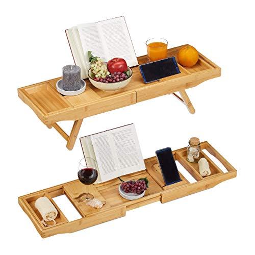 Relaxdays Bandeja Cama y Bañera Extensible 2 en 1 con Soporte para Libros y Copas de Vino, Bambú, Marrón, 74.5-114 cm