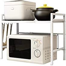 Microondas capa 2 de marco puede ser caja de la cocina marco de acero microondas de almacenamiento de almacenamiento prolongada,White