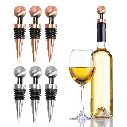 MHwan Tapones para Botellas de Vino al vacío, Tapones de Botella, Tapón de Vino de Acero Inoxidable Tapones de protección de Botella Reutilizables para Vino, Vino espumoso, champán, Cerveza, 6 Piezas