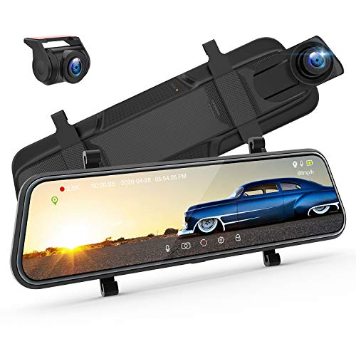 "ThiEYE 10"" 2.5K Mirror Dash Cam for Cars, IPS Full Touch Screen Front&Rear View Car Camera, Enhanced Night Vision Backup Camera with Sony Sensor G-Sensor Parking Assistance(32GB Memory Card Included)"