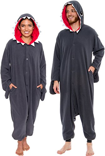 Silver Lilly Unisex Adult Pajamas - One Piece Cosplay Shark Animal Costume (X-large) Grey