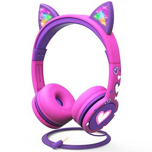 FosPower Kids Headphones with LED Light Up Cat Ears 3.5mm On Ear Audio Headphones for Kids with Laced Tangle Free Cable (Max 85dB) - Hot Pink/Purple