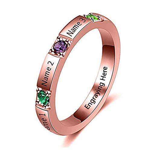 Yanday Anillos con Nombres Grabados Personalizada Promesa Anillo de Piedra de Nacimiento joyería Personalizada(Base chapada en Oro Rosa 16.5)