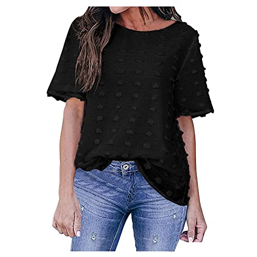 YANFANG Blusa Bordada Mujer,Verano De Las Mujeres Sheer 3/4 Bell Sleeve Crewneck Camisetas Casual Suelta Tops,Camiseta Suelto Verano Tops Fiesta T-Shirt Original tee,3-Negro,L