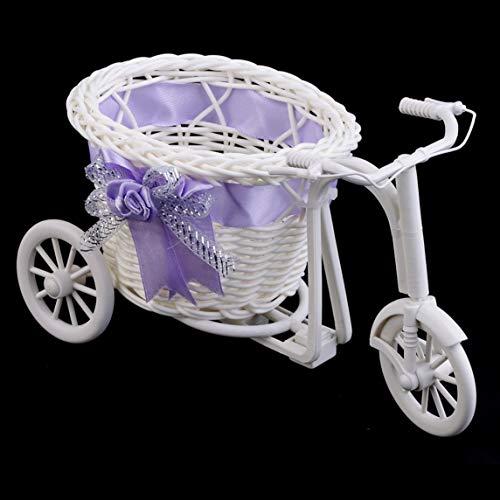 Petrichori Plástico Almacenamiento Decoración Oficina Habitación como Regalo Triciclo De Ratán Bicicleta Cesta De Flores Jardín Decoración De La Boda Mini Carro Utilitario - Morado