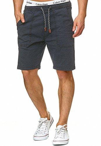 Indicode Herren Stoufville Chino Shorts mit 3 Taschen und Kordel aus 98% Baumwolle   Kurze Hose Regular Fit Bermuda Stretch Herrenshorts Short Men Pants Sommerhose für Männer Navy L