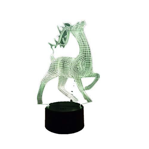 Lámpara 3d Potencia usb 7 colores Increíble ilusión óptica 3d Grow Led lámpara Wapiti Deer Dormitorio de los niños Luz nocturnatoque remoto