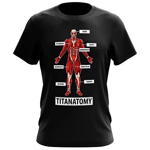Okiwoki T-Shirt Homme Noir Parodie L'attaque des Titans - Armin ou Bertholt Alias Le Titan Colossal - Titanantomy (T-Shirt de qualité Premium de Taille 5XL - imprimé en France)