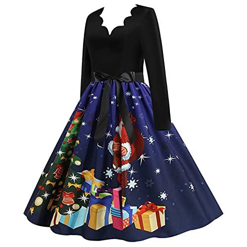 Womens Vintage Swing Dresses 1950s Retro Cocktail Evening Party Dress Christmas Printed Long Sleeve Prom Dress Dark Blue