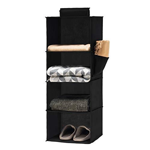 YOUDENOVA Hängeregal Stabiler Hängeorganizer Kleiderschrank Organizer Hängeaufbewahrung Schrankorganizer mit Bambus-Stöcke und MDF-Platten Verstärkt Schwarz