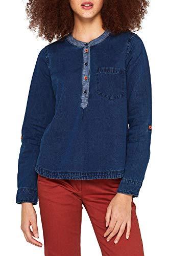 edc by ESPRIT Jeans-Bluse mit Kontrasten, 100% Baumwolle